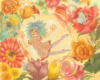 """Spring Bubbles - giclée print, 8"""" x 10"""" (20cm x 25.5cm)"""