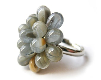 Small Grey Berry Ring - Limited Edition Ring, Gray and white Cocktail Ring, Grey Beaded Cluster Funky Rings, Neutral Bubbly Statement Ring