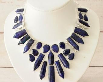 Deep Blue Kyanite Gemstone Statement Necklace, Kyanite Pendant, Statement Necklace, Blue Statement Necklace, Natural Stone Necklace