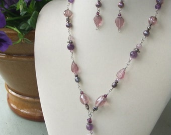 Lavender Leaf, amethyst and pearl necklace & earring set