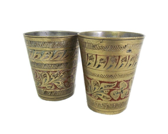 Set of 2 Small Indian Brass Lassi Cups