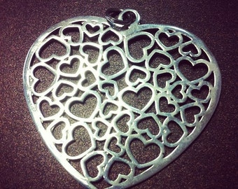 Large 925 Sterling Silver Multi Heart Pendant