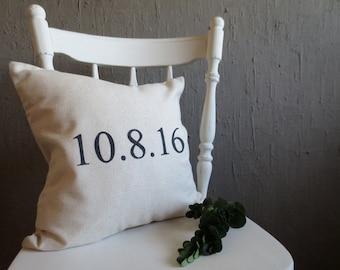 Custom Date Pillow - Throw Pillow, Wedding Date, Date Pillow, Engagement Date, Pillow Cover, Personalized Gift, Personalized Wedding Pillow