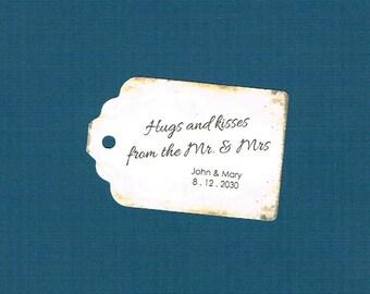 Wedding Tags, Set of 50, Hugs and Kisses Tags, Printed Tags, Wedding Shower Tags, Tags, Wedding Favor, Thank You Tag