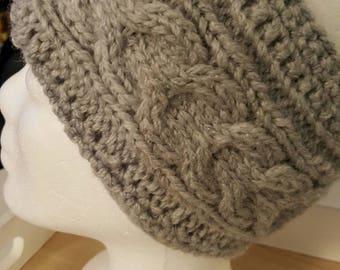 Headband, ribbon, knitting tape, beanie, knit cap, women's cap, winter cap, hand knitted, grey, white
