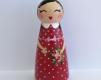 Hand Painted Love Boxes Sweet Valentine in Red Peg Doll Wood