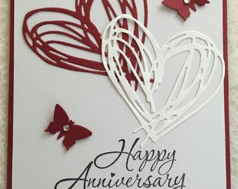 Anniversary card, Happy Anniversary cards, Hearts, love card, handmade, hearts and butterflies card , inside message,congratulations,