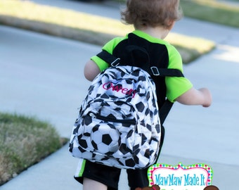 Monogrammed Toddler Baby Backpack - Mini Satin Microfiber Soccer Ball Napsack - Personalized with Embroidered Name or Initials