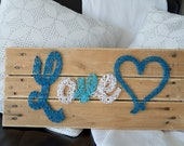 LOVE string art with 1 he...
