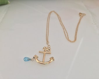 14KY Gold Anchor Necklace