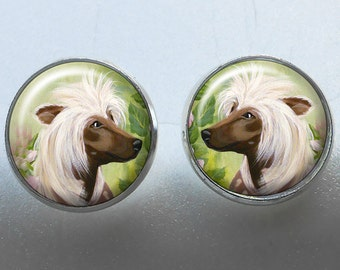 Chinese Crested Post Earrings ~ Birthday Gift ~ Gifts for Her ~ OOAK ~ Bespoke Earrings ~ Dog Jewelry ~ Pet Keepsake