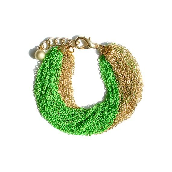 Multi Strand Chain Bracelet - Neon Green