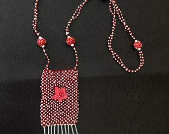 Red and white ethnic style necklace
