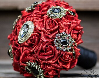 Red and black brooch wedding bouquet, broach bouquet, vampire wedding bouquet, red brooch bouquet, glitter roses bouquet, pirate wedding