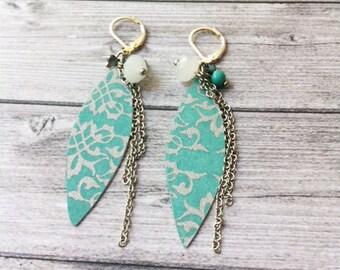 Boho chic earrings - paper earrings - dangle and drop - clip on earrings