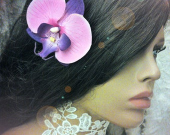 fuchsia Orchid hair clip and artificial purple