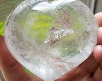 """Clear Quartz Crystal Puffy Heart 3"""" x 3.5"""" x 1.5"""". 389g / 13.7oz"""