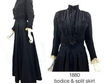 1880 Victorian Bodice and Split Skirt, 100% Hand Stitch.