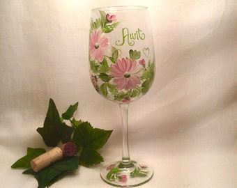 Free shipping Gift for Aunt mom grandma friend ets personalized painted wine glass