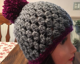 Pom Pom Hat Plum and Silver Grey