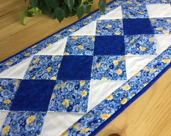 Blue Quilted Table Runner Handmade Cobalt Blue and Yellow Floral Patchwork Runner Free US Shipping