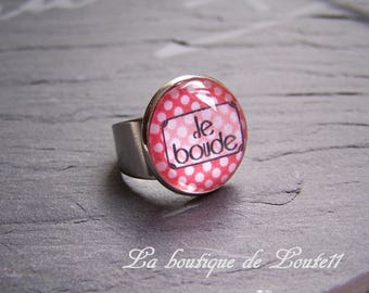 Silver ring ° I pout (red) with white dots