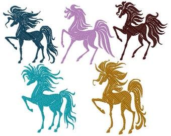 Machine embroidery design, five horses silhouette