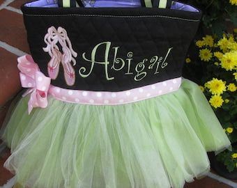 Personalized Tutu Bag with Ballet Slippers