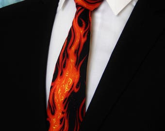 Flame Tie – Mens Flaming Fire Necktie also Available as a Skinny Tie.