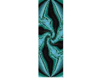 BPGF0004 Green Fractal Even Count Single Drop Peyote Cuff/Bracelet Pattern