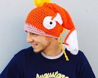 Crocheted Pokemon inspired  Magikarp fish slouchy, slouch hat teen/adult size made to order