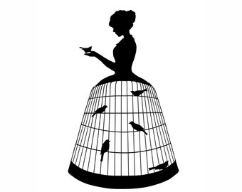 Birdcage Dress Silhouette Print Black and White Birds Victorian Unusual