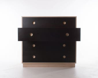 """Wide Boy """"Slate"""" Chest of Drawers - Birch Plywood and Valchromat / Oak Veneer"""