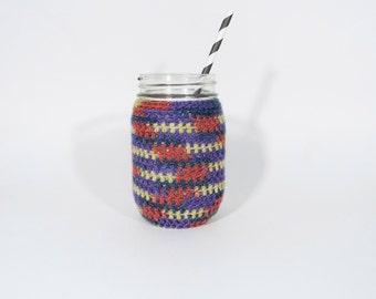 Multicolor Mason Jar Cozy Pint Sized Jar Sleeve Crochet Jar Cover in Sunset: Red Purple Yellow Blue