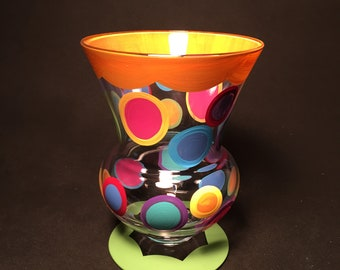 lime & orange vase with colorful polka dots by detroit glass company