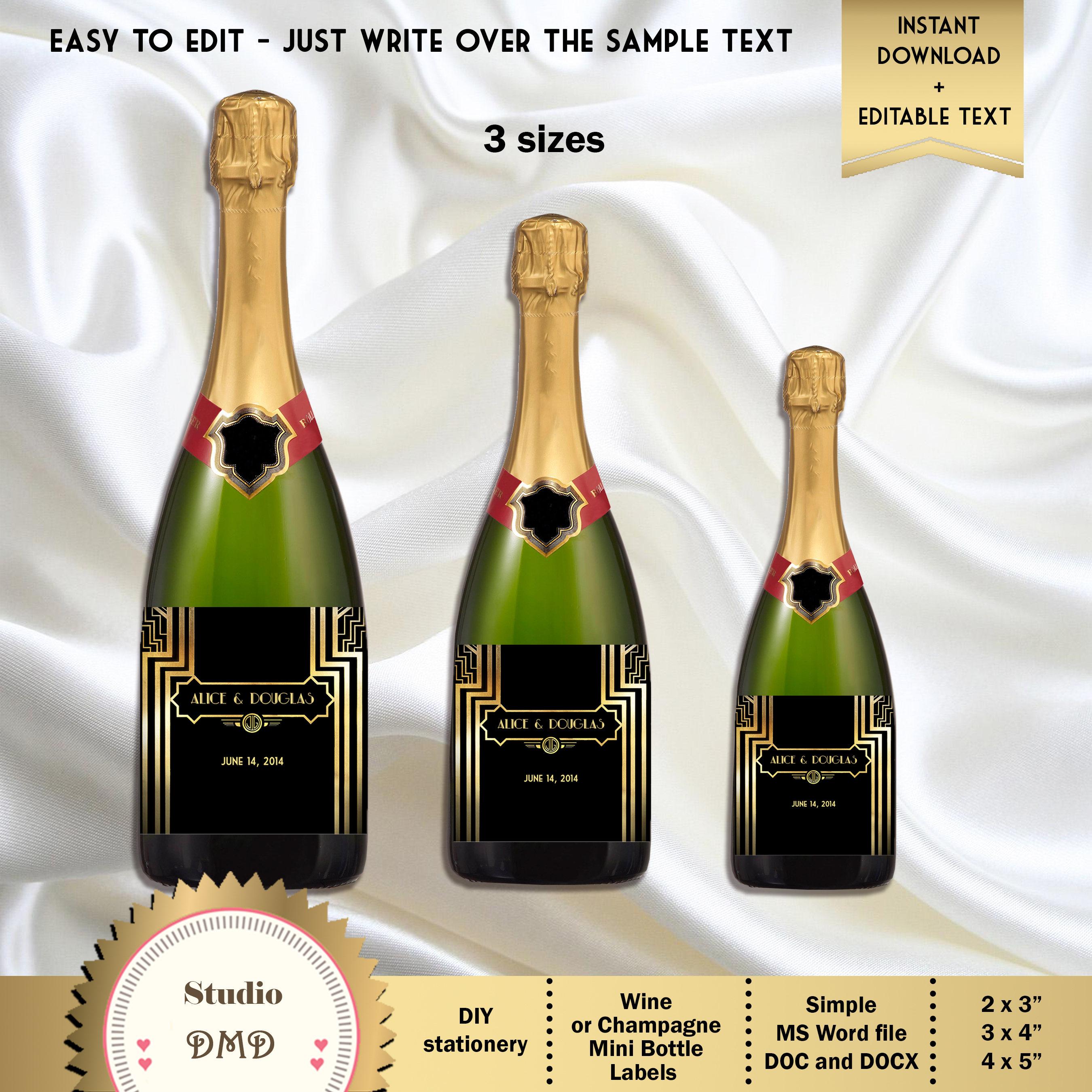 Great Gatsby Art Deco Custom Full-Size Mini Wine or Champagne