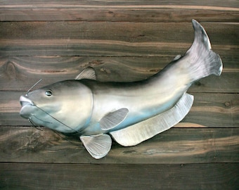 Cremation Urn, Artistic Ceramic Fish Sculpture- Large Catfish Trophy for Fisherman - Personalized Decorative Funeral Urns for Human Ashes