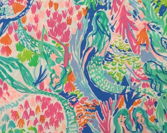 """mermaid's cove organic cotton fabric square 18""""x18"""" ~ lilly spring 2018 ~ lilly pulitzer ~ pottery barn"""