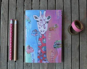 Giraffe Notebook, Recycled notebook, A5 plain notepad, Illustrated notebook, mini journal, eco friendly Notebook