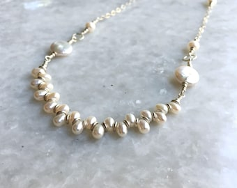 Lace necklace – Freshwater pearls, sterling silver