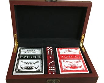 Poker & Dice Set in an Personalized / Engraved Rosewood Case, Man Cave Gift, Card Decks and Dice