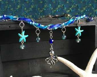 mermaid blue charm & ribbon necklace - mermaid collection, octopus and starfish necklace