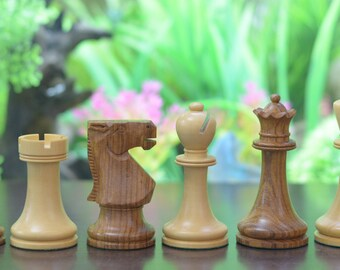 "The Staunton Series Weighted Chess Pieces in Shesham & Box Wood - 3.8"" King.SKU: S1237"