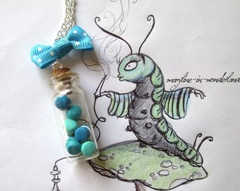 Necklace vial drink me turquoise buttons