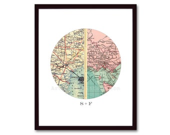 Unique Engagement Gift, Personalized Map, Anniversary Gift, Wedding Gift for Couples, Map Art Print