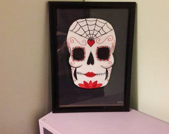 Red and black sugar skull / candy skull candy skull art - sugar skull art - day of the dead original A4 acrylic painting or print