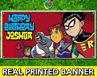 Teen Titans Go Printed Happy Birthday Vinyl Banner Personalized Custom Name