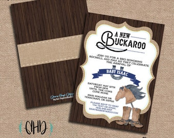 CUSTOM Baby Shower Invitation - New Little Buckaroo - Rustic Little Cowboy Baby Boy