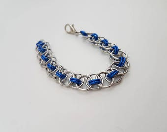 Blue Handmade Helm Weave Chainmaille - Women's Small Bracelet