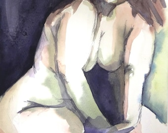 """Figurative art, Original watercolor painting, about naked fat woman, Size 13.4"""" x 9,5"""" Made in Chile"""